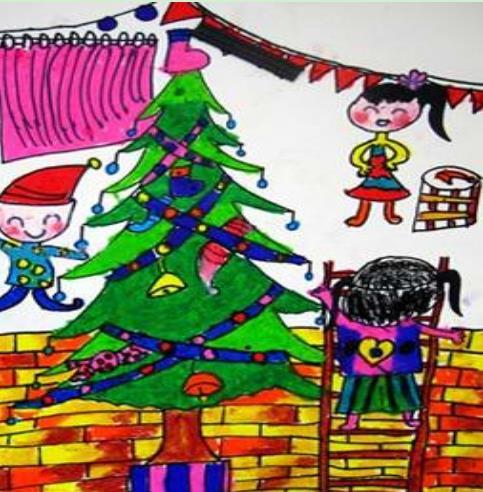 小朋友装扮圣诞树