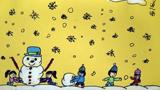 儿童画堆雪人-大家一起堆雪人