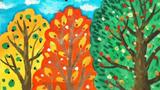 春夏秋冬儿童画-秋天的果实