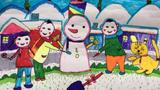 儿童画堆雪人-兴奋堆雪人