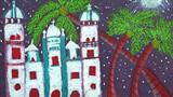 儿童画城堡图片大全-繁星下的城堡
