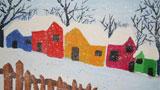美丽的雪中七彩屋