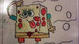 海绵宝宝儿童画-远望的海绵宝宝