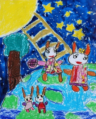 中秋節兒童畫作品-兔子給月亮送月餅