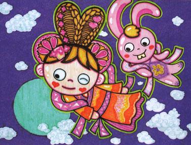 节日儿童画 03  儿童画嫦娥-嫦娥玉兔闹中秋      迎中秋节,嫦娥舞