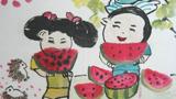 小朋友们吃西瓜