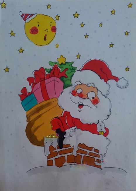 圣诞老人背礼物啦_起跑线儿童画