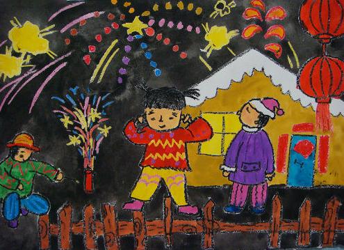 夜空中美丽的烟花_起跑线儿童画