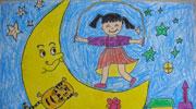 月亮儿童画-在月亮上跳绳