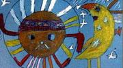 月亮儿童画-太阳哥哥和月亮妹妹