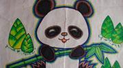 竹林里的大熊猫儿童画-吃竹子的熊猫
