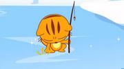 小猫在冰上捉鱼