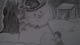 儿童画堆雪人-堆雪人