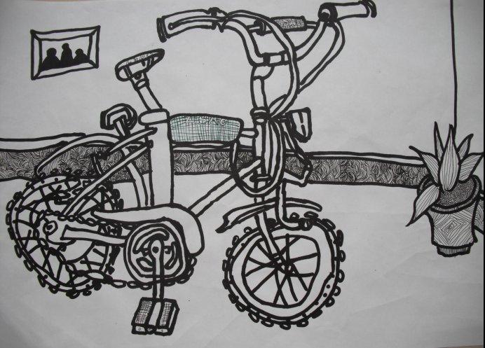 儿童自行车_起跑线儿童画