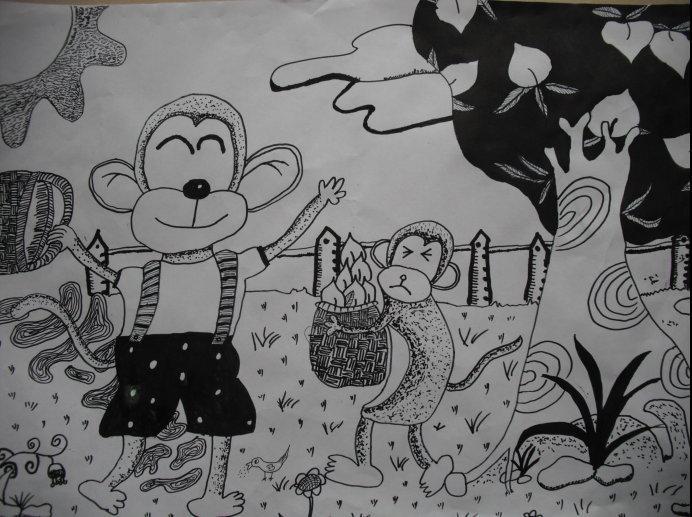 这张图片画的是小猴子摘桃子的图片,大家看看里面有两只可爱的小图片