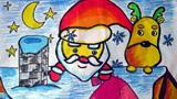 爬屋顶的圣诞老人和驯鹿