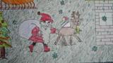 送礼物的圣诞老人和驯鹿
