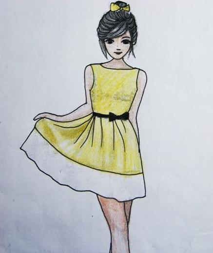 铅笔画吧,里面有一个比较高挑的美少女哦,她穿着一件淡黄色的连衣裙