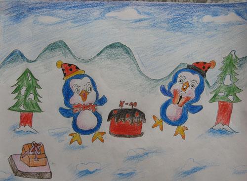 企鹅是我们南极特有的小动物哦,他们穿着黑色的燕尾服,可爱憨厚的样子