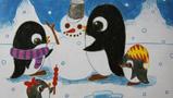 儿童画堆雪人-堆雪人的小企鹅