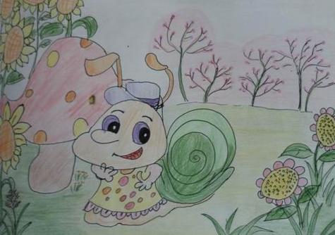 铅笔画作品就是我们的可爱的小蜗牛哦,你瞧,她是一位可爱的小姑娘哦