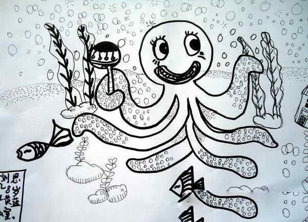 动物黑白线描画