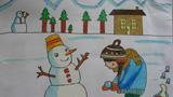 儿童画堆雪人-冬天堆雪人