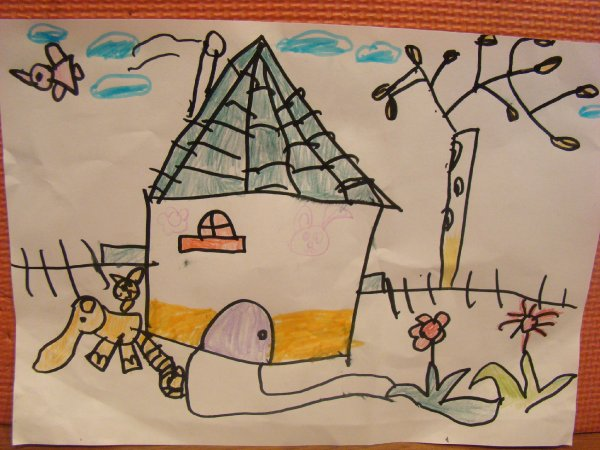 彩色铅笔画田园风景