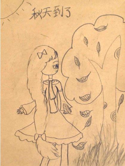 秋天的落叶_起跑线儿童画