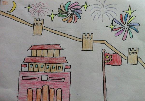 城墙的正中间挂着毛主席的画像.城楼上拄着霸占红灯笼和国徽.图片