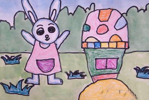 你看这幅画中的小兔子是多么可爱啊!它在向人们骄傲的介绍自己的家呢!