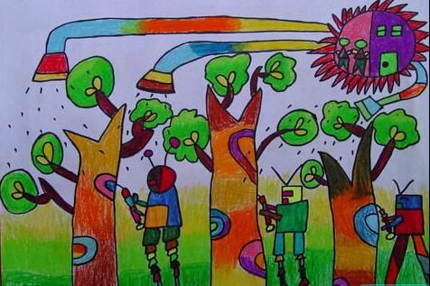 小学生绘画科幻作品简介怎么写图片