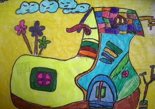 房子的儿童画作品吧