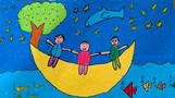 月亮儿童画-我们在月亮上旅行