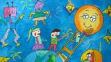 月亮儿童画-中秋节去看月亮