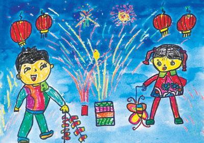 一起来欣赏一下元宵节儿童画吧.图片