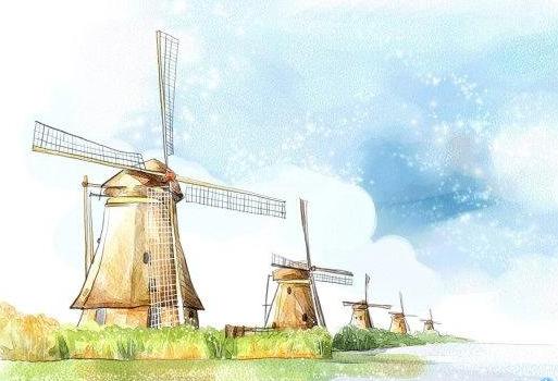 大风车儿童画-迎风的风车