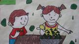 吃粽子儿童画-端午节吃粽子