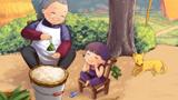 吃粽子儿童画-看奶奶包粽子