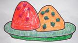 吃粽子儿童画-端午吃粽子