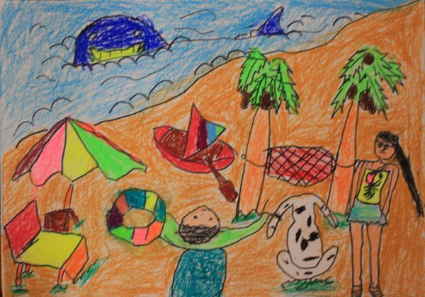 03  儿童画 03  蜡笔画 03  我去海边玩耍      夏天,小朋友们