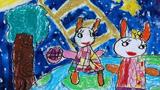 兔子给月亮送月饼
