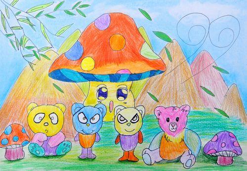 憨厚的小熊们 起跑线儿童画