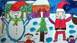 欢庆圣诞节的儿童画