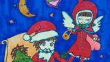 美丽的天使儿童画-圣诞老人和天使