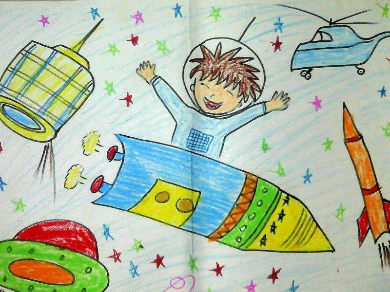 遨游太空_起跑线儿童画图片