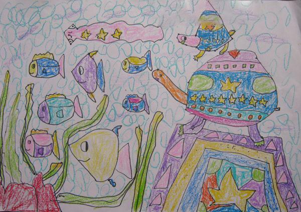 神秘的海底世界_起跑线儿童画