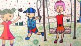 做运动儿童画-我们爱运动