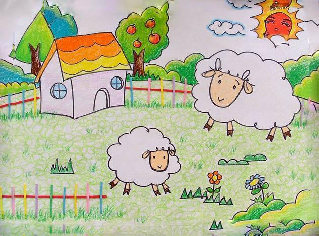 低头吃青草的羊