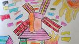 大风车儿童画-古老的风车